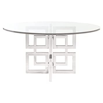 Mercer Round Glass Stainless Steel Dining Table