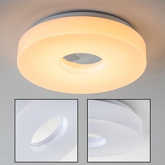 LED Ceiling Light Loris 1380 Lumen IP44 Round luminaire in White Aluminium Warm-White 3000 Kelvin Also Suitable for The Bathroom 18 Watt