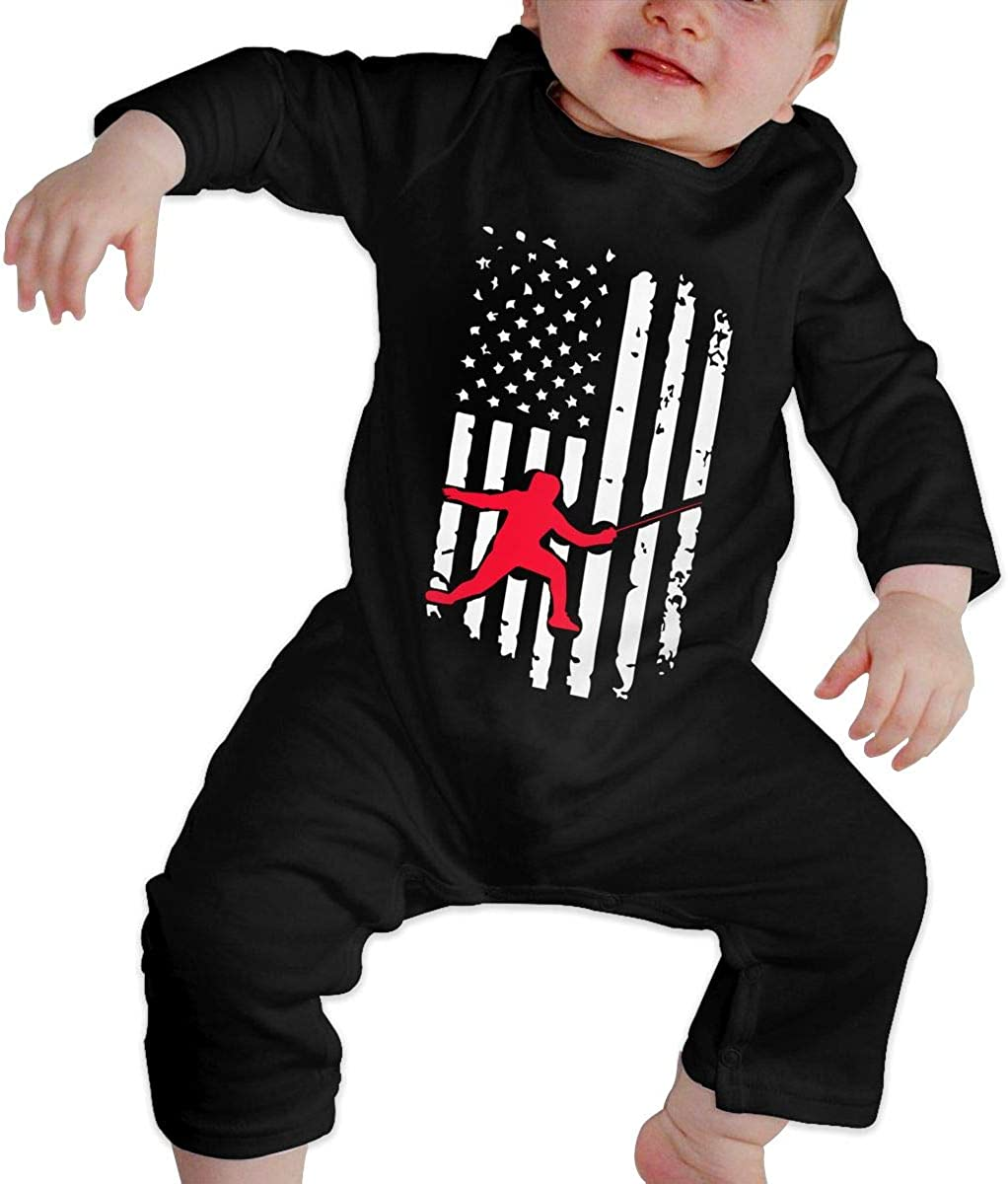 Fencing American Flag-1 Organic One-Piece Kid Pajamas Clothes BKNGDG8Q Unisex Baby Romper Jumpsuit