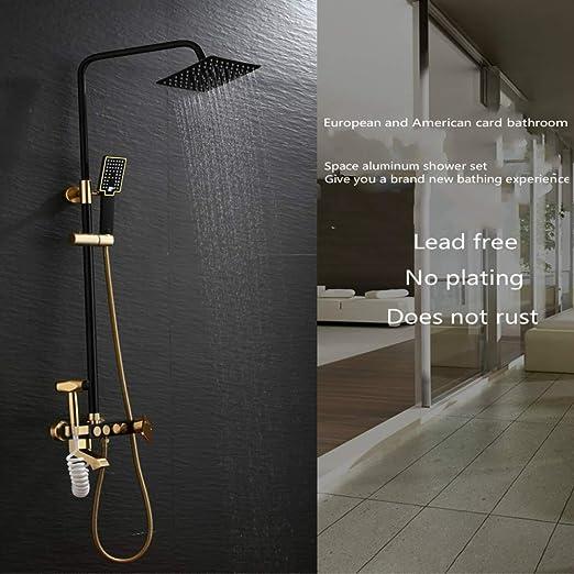 YJRIC Syst/ème de Douche Ensemble de robinets de Douche Or Noir Space Aluminium Rainfall Salle de Bains Robinets de m/élangeur de Douche avec Bidet M/élangeur deau Chaude et Froide Noir