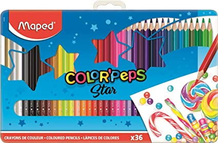 Maped Color Peps –Caja metálica de 36 lápices de colores de ...