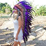 Novum Crafts Feather Headdress | Native American Indian Inspired | Purple