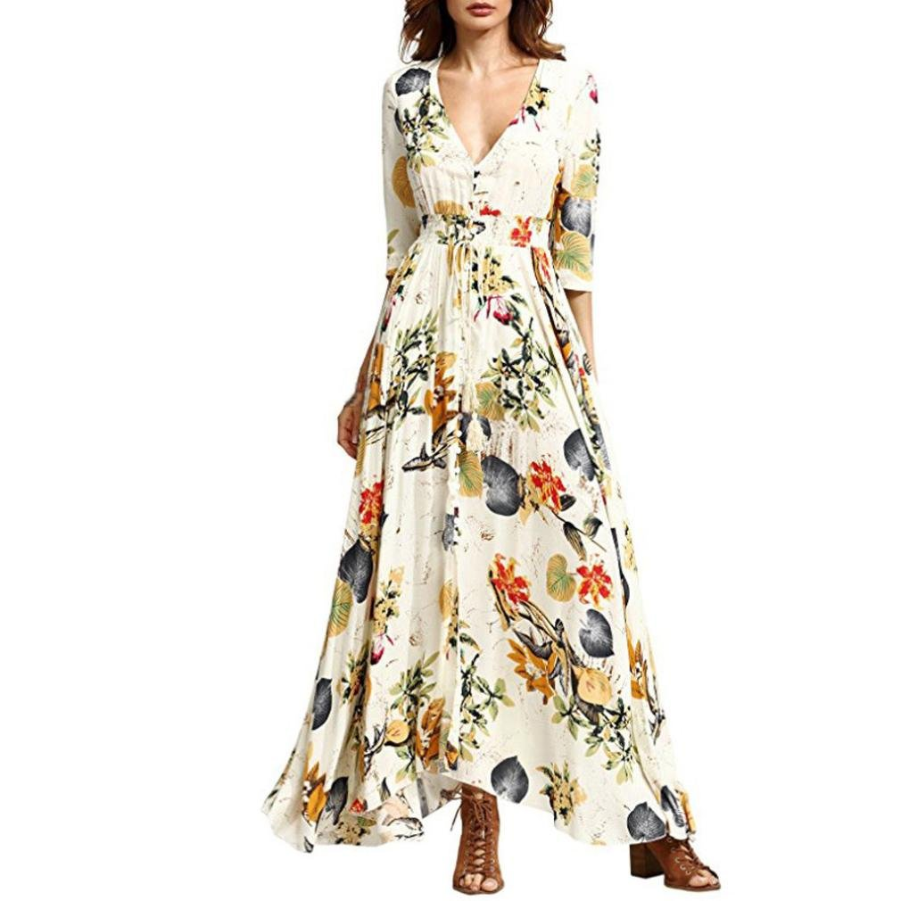 Women Dress, Bohemia Half Sleeve Long Dress Floral Print Beach Party Casual Maxi Dress (L, Yellow)