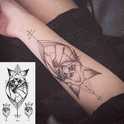 Oottati 2 Hojas Pequeno Lindo Tatuaje Temporal Tattoo Gato Egipcio