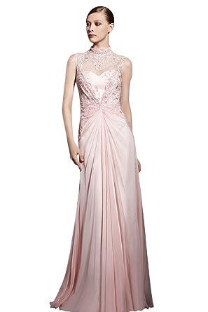 Elliot Claire London Pink Long Chiffon Prom Dress: Amazon.co.uk: Clothing
