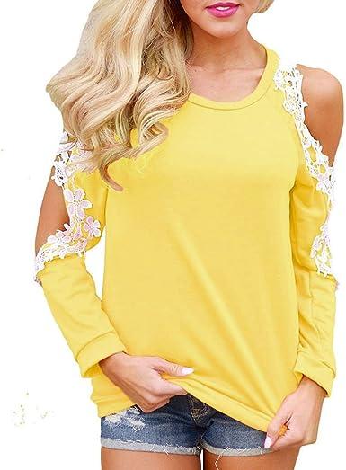 K-youth Camiseta para Mujer, Mujer Manga Larga Camisa Casual Blusa Suelto Tops Atractivas Blusas Mujer Elegante Ropa de Mujer en Oferta Tallas Grandes Camiseta Mujer Primavera (Amarillo, XXL): Amazon.es: Ropa y accesorios