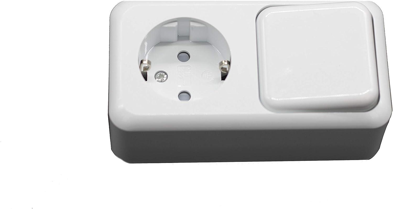 Base Schuko con interruptor blanco 16A//250V. Prendeluz