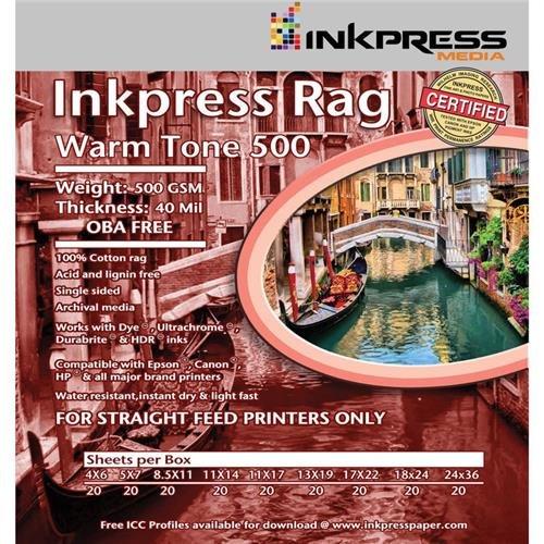 - Inkpress Rag Warm Tone 500 Single Sided, Matte Printer Paper, 500 GSM, 40 mil, 18x24