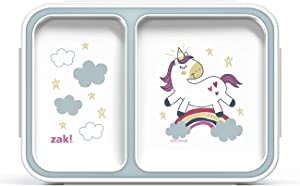 Zak Designs Reusable Lunch Box with Lid for Meal Zak Food Container, 2-Section Bento, Unicorn