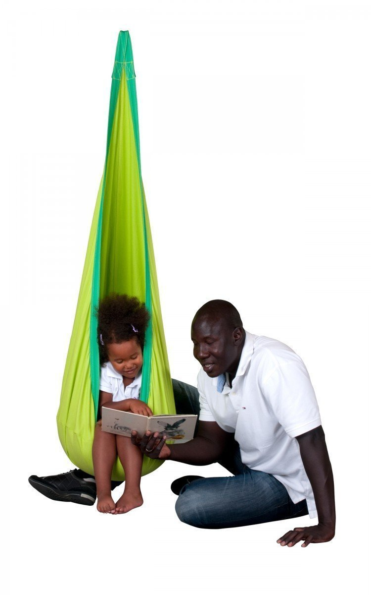 Amazon com yunnasi baby boy girl kids pod swing chair seat nook tent with inflatable cushion indoor outdoor hanging seat hammock green baby