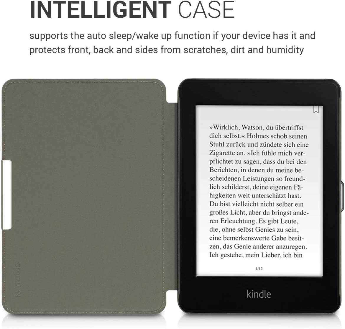 kwmobile Case for  Kindle Paperwhite 10. Gen - 2018 PU Nubuck Leather Protective e-Reader Flip Case Cover Waves Grey