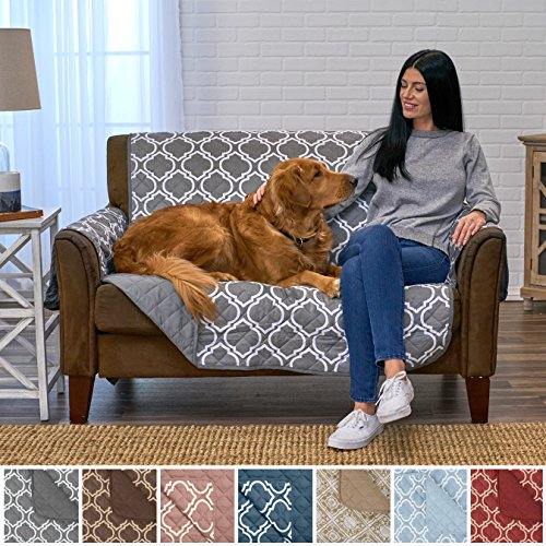 Home Fashion Designs Adalyn Collection Deluxe Reversible Quilted Furniture Protector. Beautiful Print on One Side/Solid Color on the Other for Two Fresh Looks. By Brand. (Loveseat, Charcoal) by Home Fashion Designs
