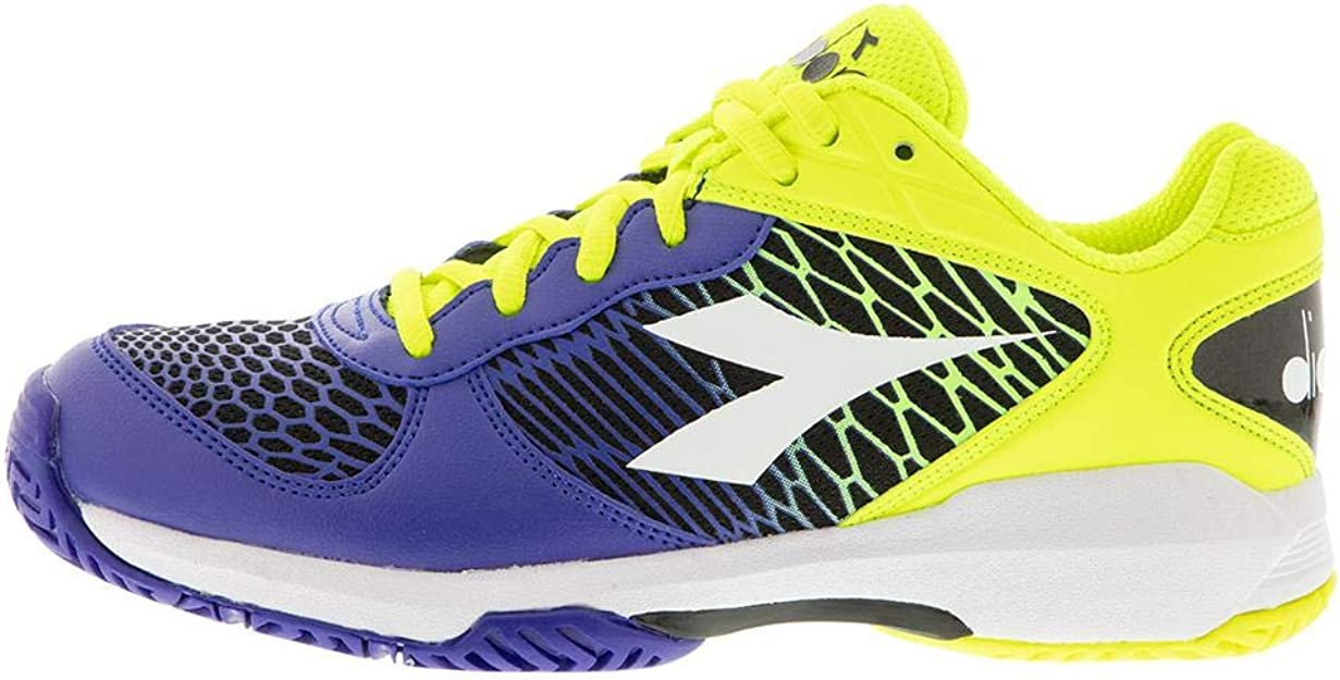 Diadora Juniors` Speed Competition Tennis Shoes Royal and White