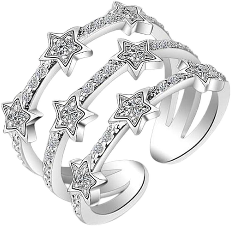 Hosaire Anillo de Plata de con Estilo y Elegante Mujeres de Apertura Metal-Ajustable (Tres Estrellas Plata)