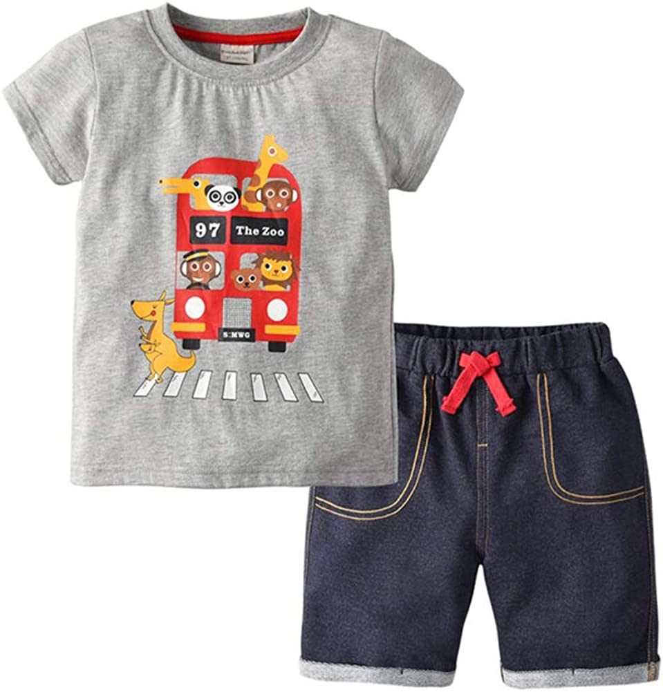 Motteecity Boys Clothes Casual Cute Animal Bus T-Shirt and Pants Set