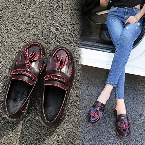 Zapatos Otoño Instituto con Pequeños Cuero Gruesas Zapatos de Individuales de Y ZH Europeos Mujer Gran Americanos UN Borlas Planas Tamaño de Zapatos AqpC4O