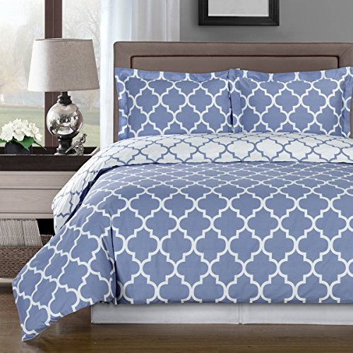 Deluxe Reversible Meridian Comforter Set 100% Cotton 300 Thread Count Bedding, woven with superior single-ply yarn. 3 Piece Twin/Twin Extra Long Size Comforter Set, Periwinkle and White