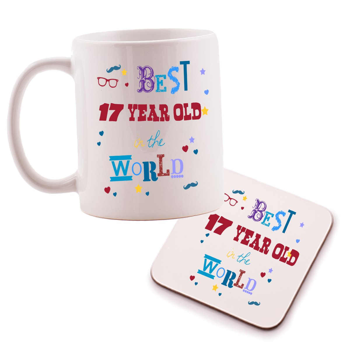 Best 17 Year Old Mug and Coaster set - birthday gift idea. Perfect present for him, her, son or daughter Ukgiftbox
