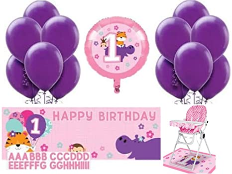 1st Birthday Girl High Chair Kit Customizable Party Banner 1 Foil And 15