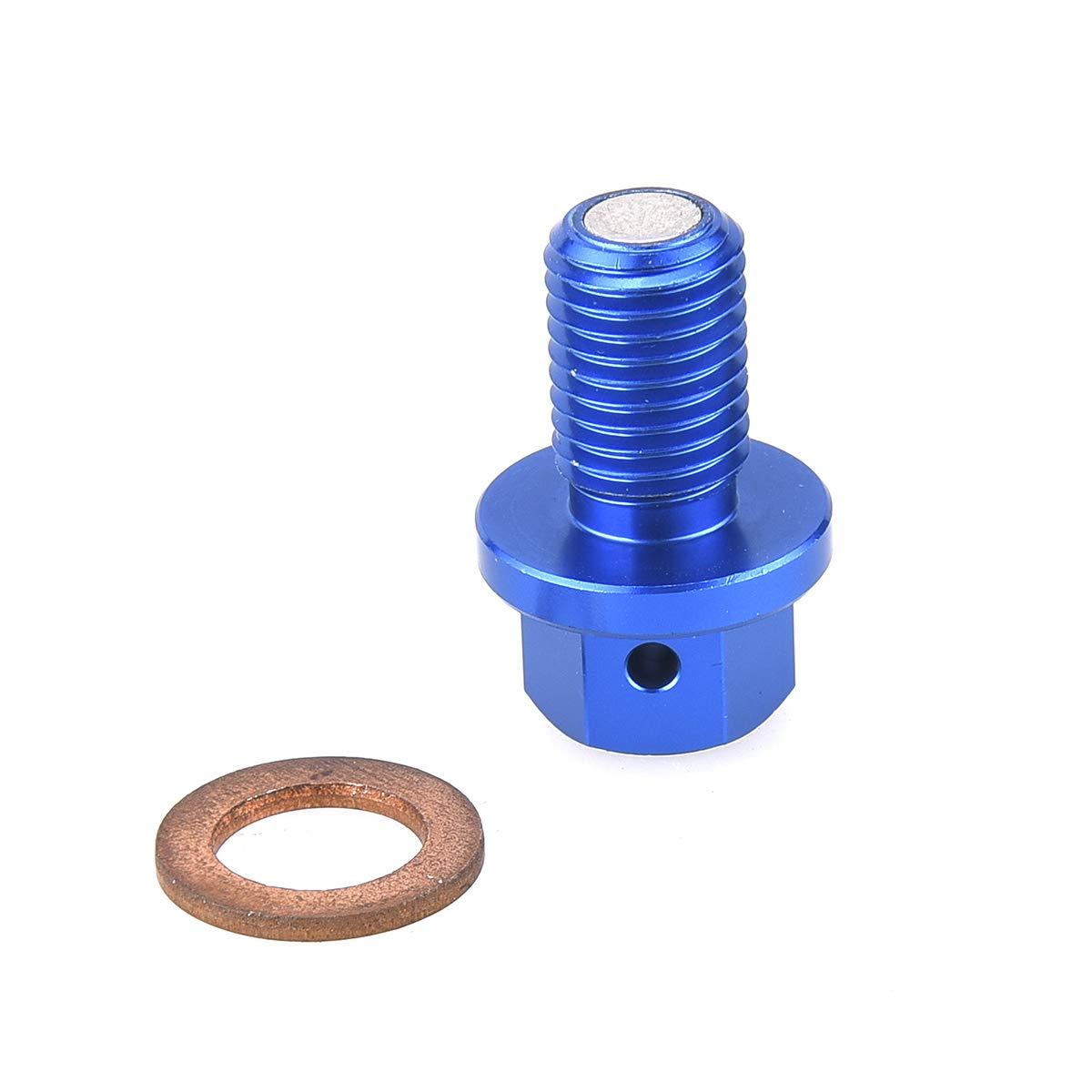 JFG RACING Blue CNC Aluminum M10x1.25 Frame Magnetic Oil Drain Plug Bolt For Yamaha YZ125 YZ250F YZ450F YZ250FX WR250F WR450F