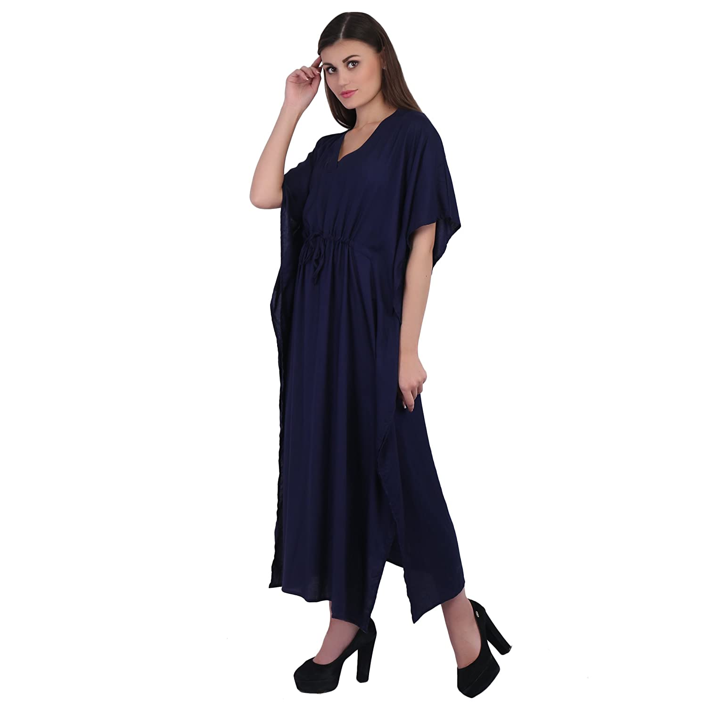 bb90666874376 RADANYA Women's Solid Kaftan Dress Short Kimono Sleeve Long Maxi Navy Blue  Coverup Gown: Amazon.co.uk: Clothing