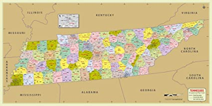 Amazon.com : Tennessee County with Zip Code Map (48\