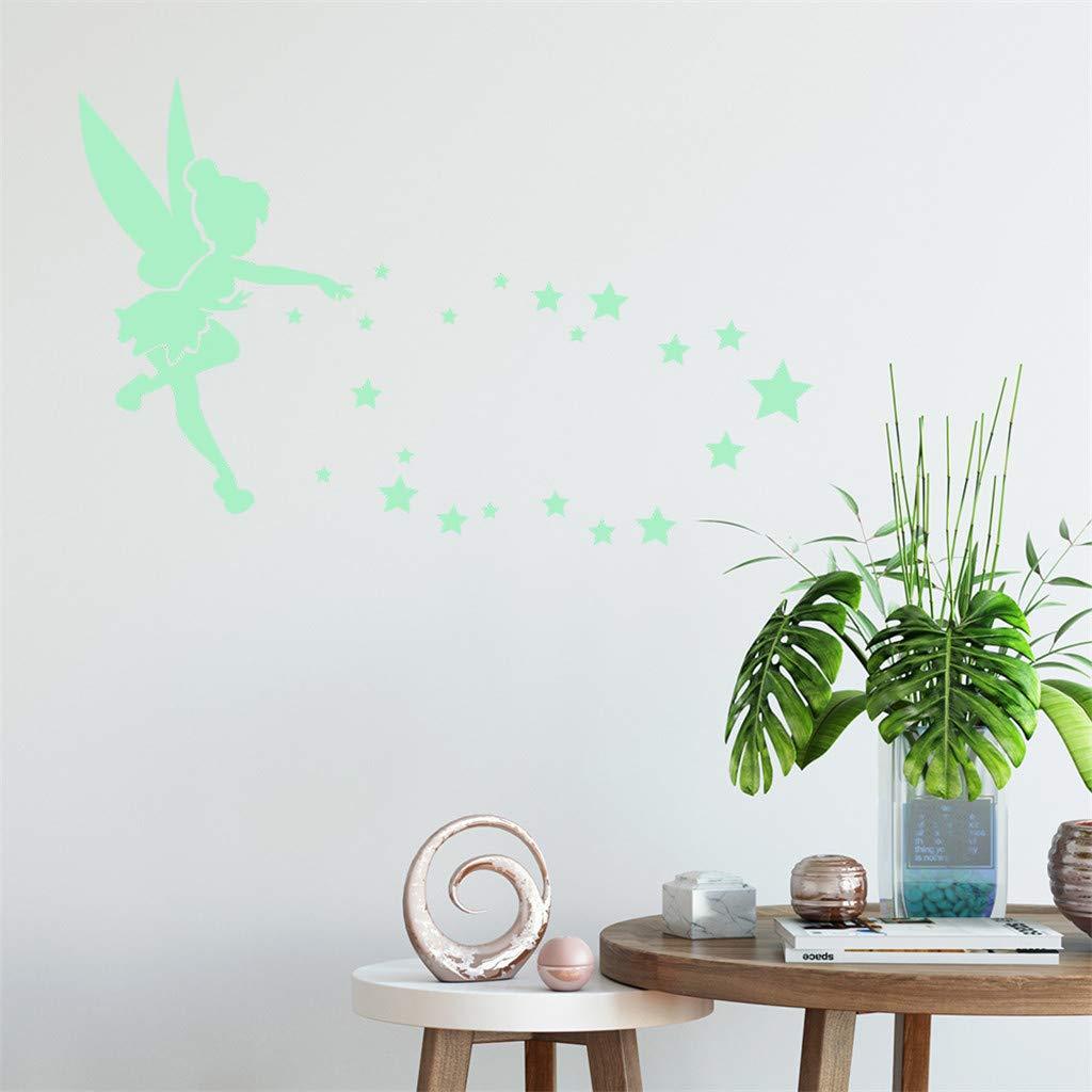 RYTEJFES Sticker mural Phosphorescent PVC noir bricolage autocollants lumineux Enfants Chambre Nursery Mur Plafond Les combinaisons de d/écoration de la maison lumi/ère stickers muraux autocollant