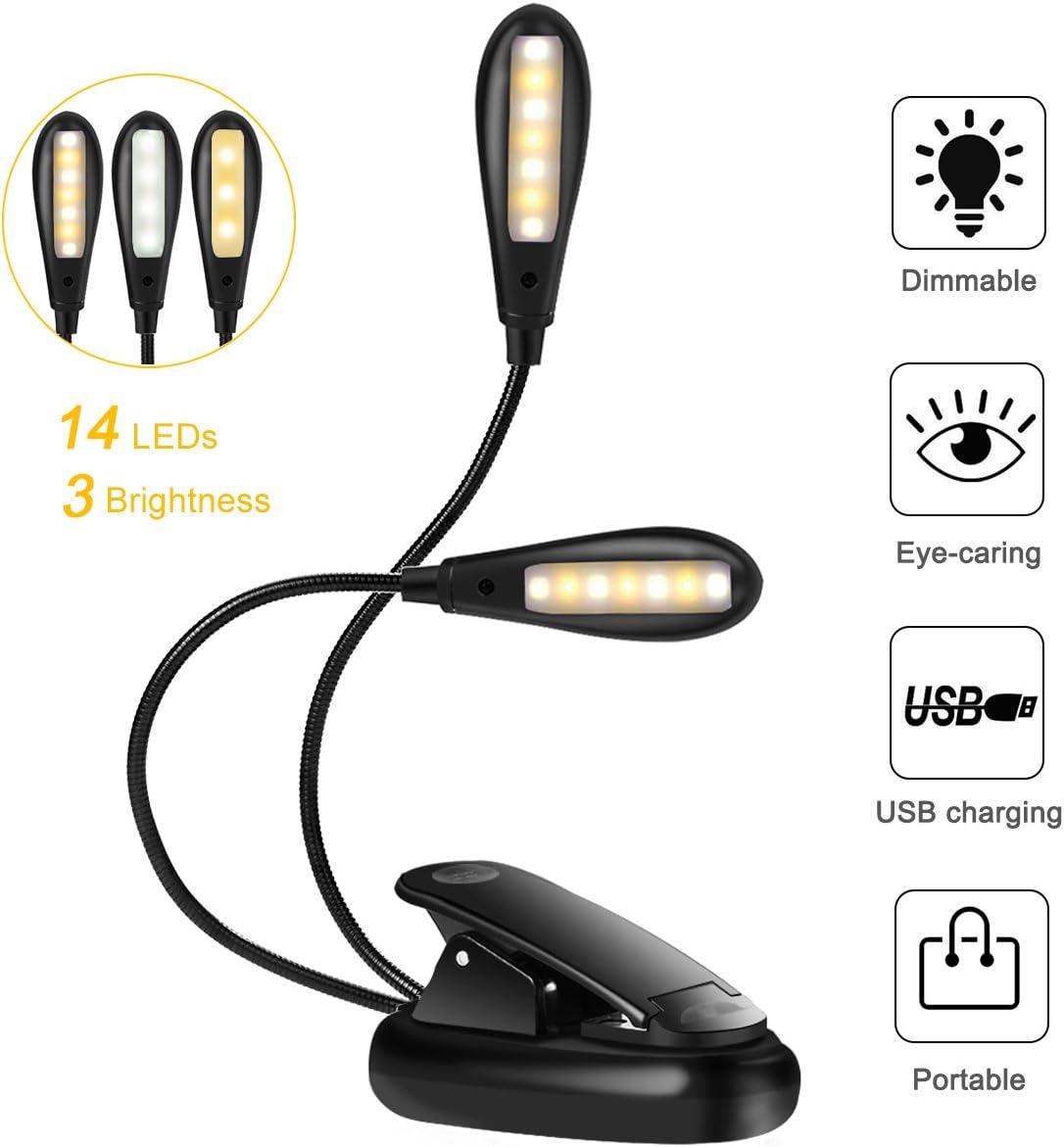 Voyage Lampe de Chevet/Lecture/Lampe de Lecture Pupitre Lampe de Bureau/Portable Rechargeable avec C/âble USB pour Lecture de Nuit 8 LED et 2 Mode de Luminosit/é R/églables Liseuse