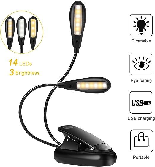 Luz de Lectura Recargable, 14 LED Luz de Libro, 9 Modos de Brillo ...
