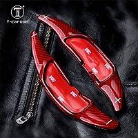 Red Genuine Carbon Fiber Steering Wheel Shift Blade Paddle Shifter Extension For Mercedes-Benz Mercedes-AMG A45 CLA45 GLA45 C63 CLS63 G63 GLE63 GLS63 SL63 C65-S65 Paddle Shift Trim For Men Women