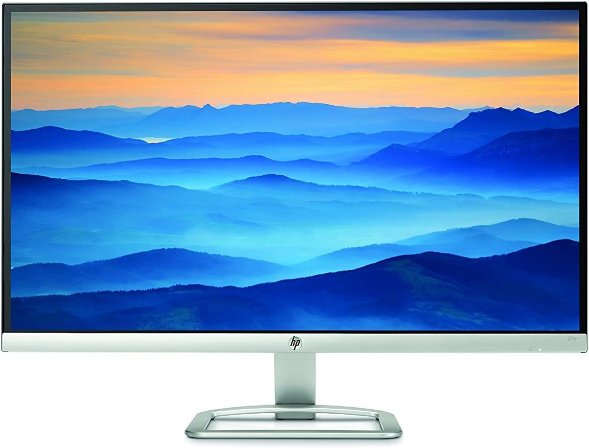 Newest HP 27 inch 27er IPS LED Backlit Full HD 1920 x 1080 Bezel-less Display Monitor, 5,000,000:1 Dynamic Contrast Ratio, Share the panoramic view, User control OSD settings, 1 VGA, 2 HDMI