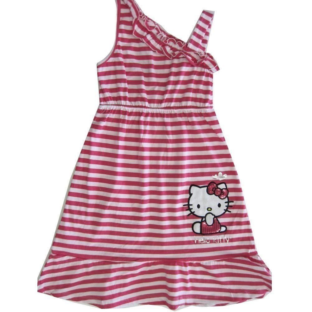 Hello Kitty Little Girls Fuchsia White Striped One Shoulder Dress 4-6X