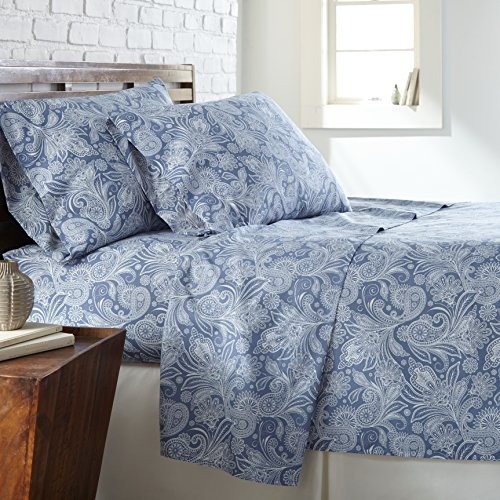 Southshore Fine Linens - Perfect Paisley Boho Collection 3 Piece Sheet Sets, Twin, Blue with White Paisley