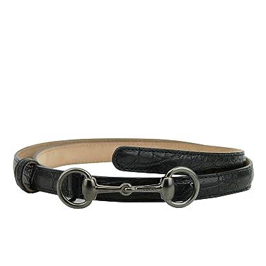 ade2dc0dd Gucci Women's Horsebit Buckle Black Leather Thin Skinny Belt 282349 1000 ...