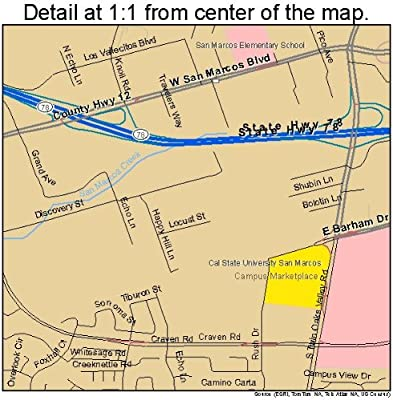 Amazon Com Image Trader Large Street Road Map Of San Marcos