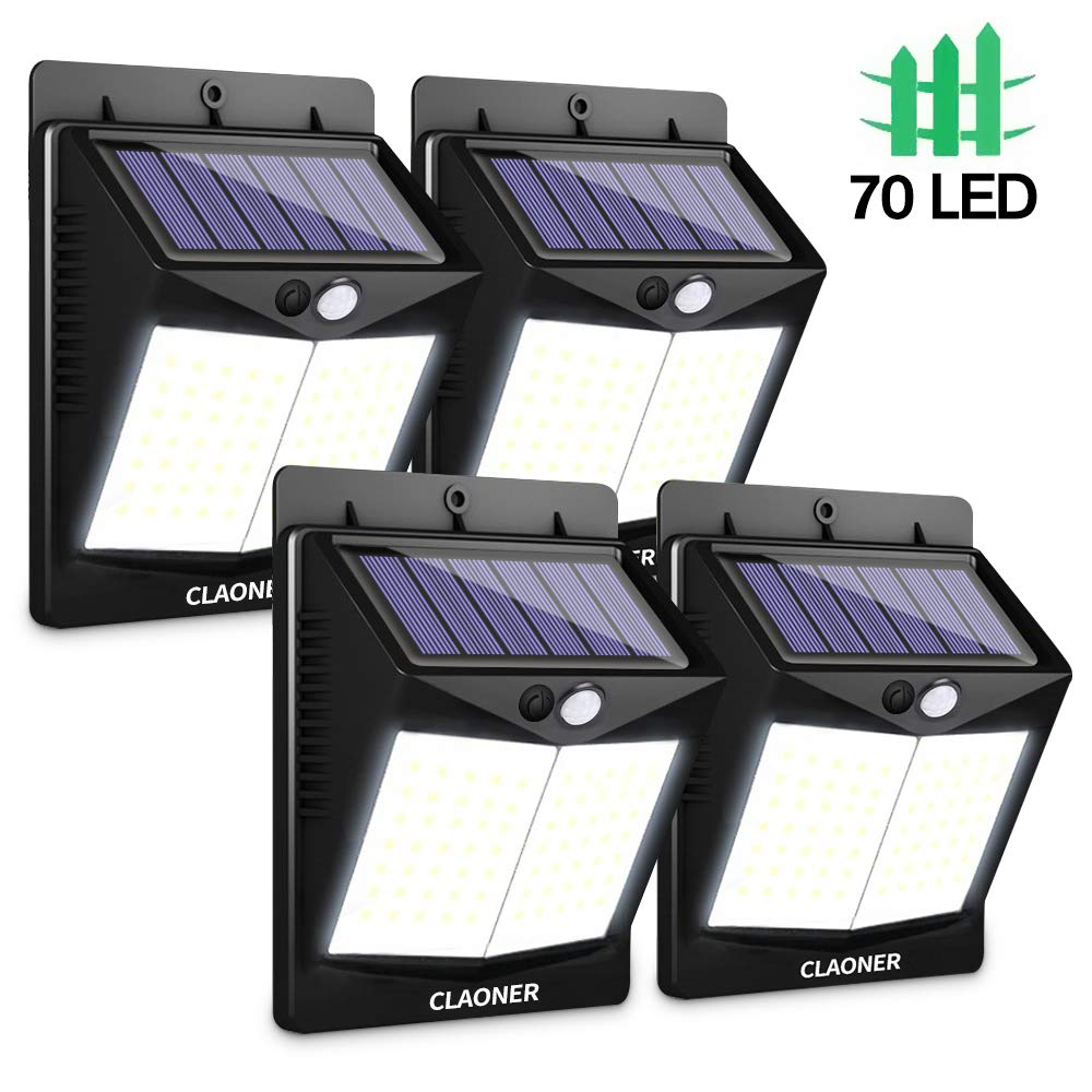 CLAONER 70 LED 4 Packs Solar Motion Sensor Lights, Wireless Solar Lights Outdoor IP65 Waterproof Security Solar Wall Lights, with 3 Modes for Front Door, Garden, Yard, Garage-1200 Lumens