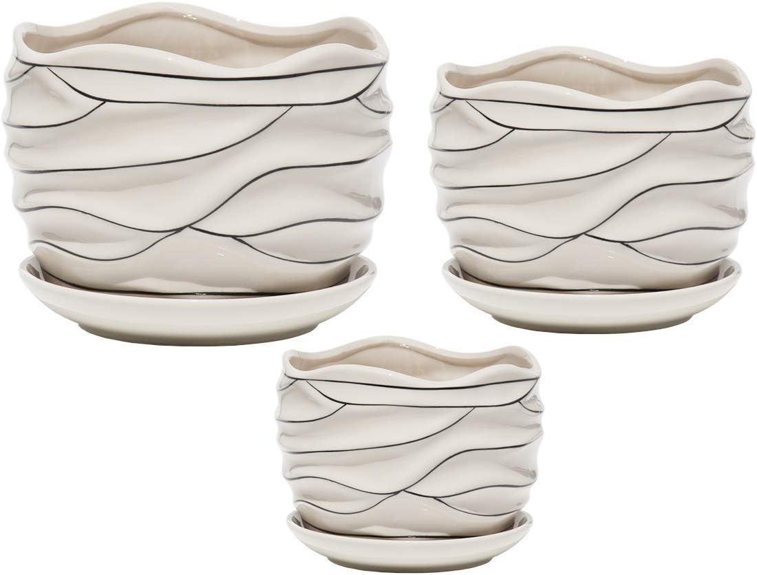 Mehome White Ceramic Flower Pot Garden Plant Pot Succulent Cactus White Stripe Wave