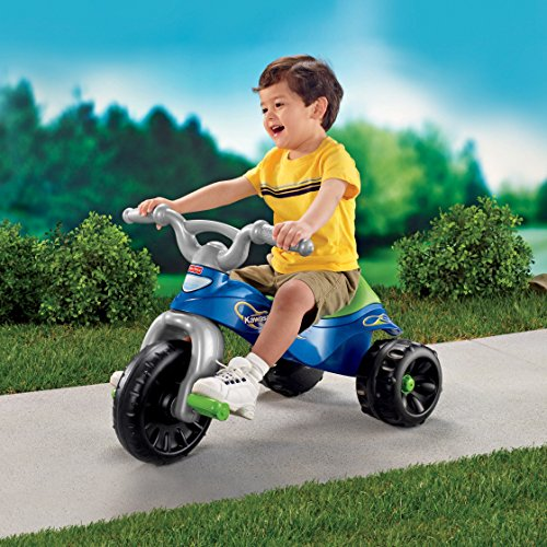 61%2BOTPhNS8L - Fisher-Price Kawasaki Tough Trike, Blue/Green