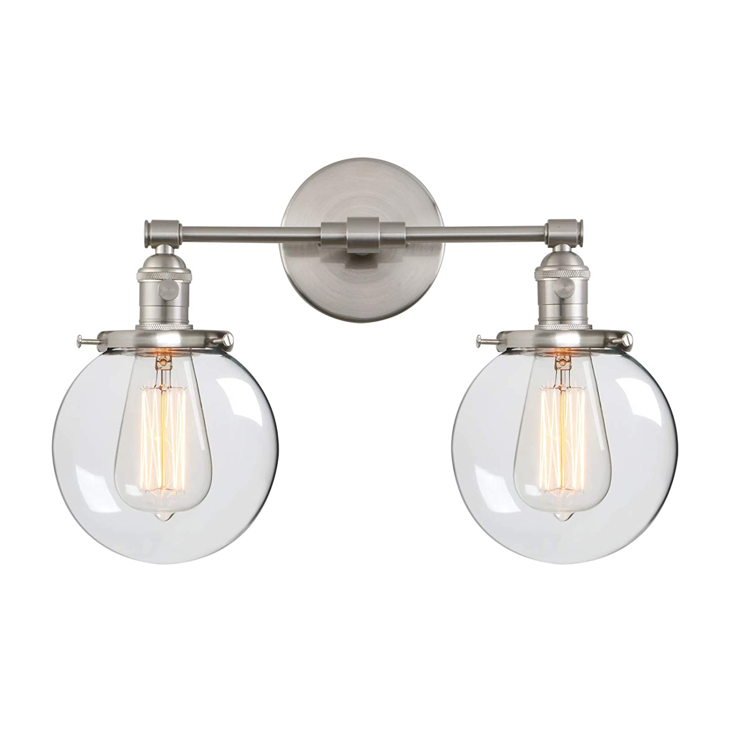 Phansthy vintage wall light fixtures with globe glass shade 2 lights wall sconces lighting switched indoor rustic wall lamps for living room bathroom vanity
