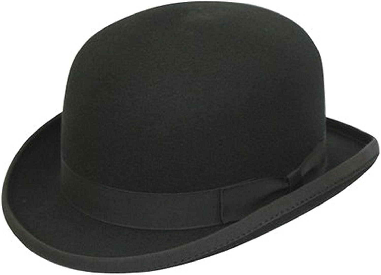 Bombín clásico negro de copa redonda dura, 100% –hecho a mano–con cepillo de limpieza