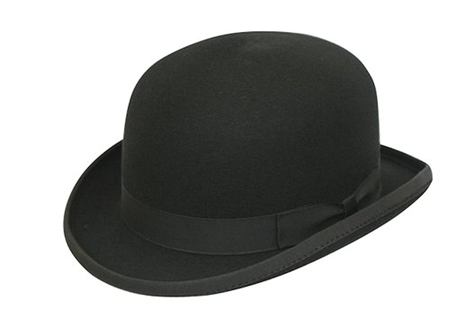 100% Wool Plain Black Classic Round Top Hard Bowler Hat - Hand Made - With Cleaning Brush