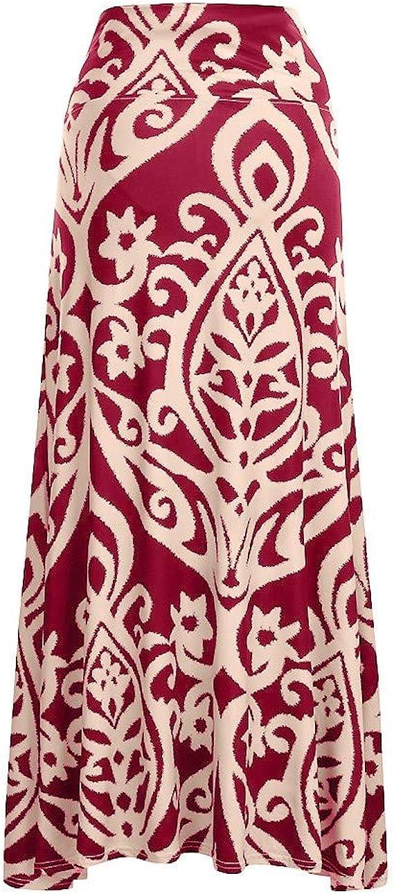Zlolia Pregnant Women Floral Print Skirt High Waist Maxi Skirt Summer Casual Maternity Dresses