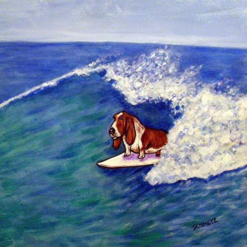 Basset Hound Surfing dog art tile coaster gift