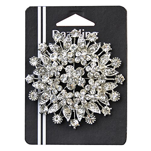 Belagio Enterprises 3-inch Rhinestone Brooch 1 Piece, Silver/Crystal Glass Silver Brooch