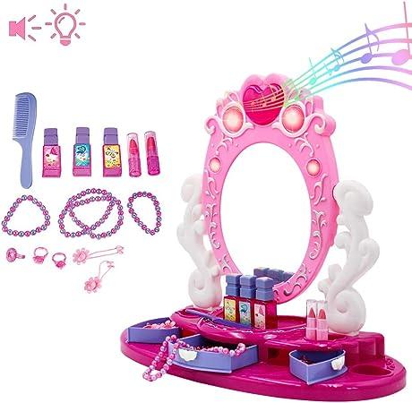 deAO Centro de Belleza Tocador con Espejo y Joyero Conjunto ...