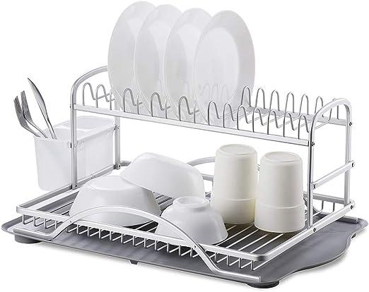YENOREX Dish Drying Rack-Aluminum 2 Tier Kitchen Dish Rack -Dish Rack  Drying with Removable Utensil Holder and Drainboard,Large Capacity