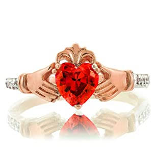 10k Rose Gold Heart CZ January Birthstone Claddagh Ring with Natural Diamonds (Size 75)