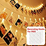 Photos Clips String Lights for Bedroom&Decorating Hooks Combo, 10ft 20 LED Warm White Battery Operated Fairy String Lights for Bedroom Hanging Photos, Card Artworks, Décor, Indoor, Wedding Party