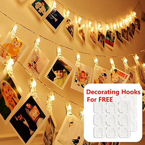 Sports Light Displays (Photos Clips String Lights for Bedroom&Decorating Hooks Combo, 10ft 20 LED Warm White Battery Operated Fairy String Lights for Bedroom Hanging Photos, Card Artworks, Décor, Indoor, Wedding Party)