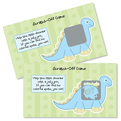 f439169de Image Unavailable. Image not available for. Color: Big Dot of Happiness Baby  Boy Dinosaur - Baby Shower or Birthday Party Game Scratch Off